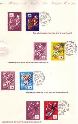 Document philatélique France 98-Paris-Nantes-Marseille-Lyon